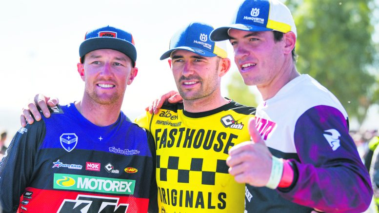 Condobolin's Jacob Smith (centre) is hoping to conquer the 2021 Tatts Finke Desert Race. Jacob has never won the Tatts Finke Desert Race, but has ambitions to hold aloft the winner's trophy. Image Contributed.
