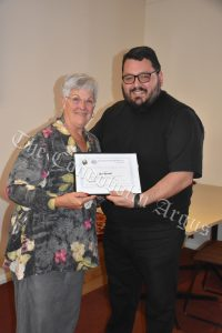 Father Getulio with Sue Kendall (left) who was given a Certificate of Appreciation for her service as a volunteer of the St Vincent de Paul Society in Condobolin, especially in the area of data entry. Image Credit: Melissa Blewitt.