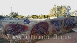 Chainsaw artist Brandon Kroon (BK Carving) has completed a second magnificent Redgum carving that will take pride of place in town. The relief carving depicts sports played in the local area – water skiing, motorbike/rallies, rugby and rodeo. The second and third carvings will be different to the Red Gum Goanna carving, as they will be shallow relief carvings as opposed to a 3D structural carving. Image Credit: Melissa Blewitt.