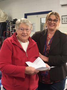 Wilcannia Forbes Vinnies Retail Manger, Tanya Godden, presented Margaret Gordon with a 10 year Good Works Medal at a morning tea hosted by Tanya on Wednesday, 19 May for all Vinnies volunteers. All volunteers received a pin in recognition for their work in 2021. Image Credit: Helen Atkinson.