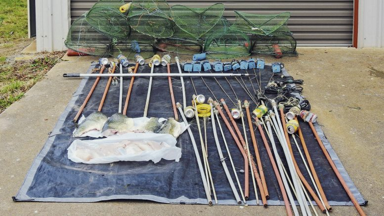 Two men have been fined a total of $2,600 after they were found to have 18 sets and unattended handlines from the Goobang Creek; a further 30 handlines in their possession; four mutilated Murray Cod – filleted; nine opera house style yabby traps; and one gaff in their possession. Image Credit: NSW DPI Fisheries Facebook Page.