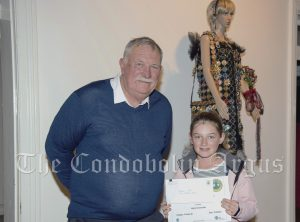 Councillor Dennis Brady with Grace Ford (Highly Recommended Primary School 3D category).