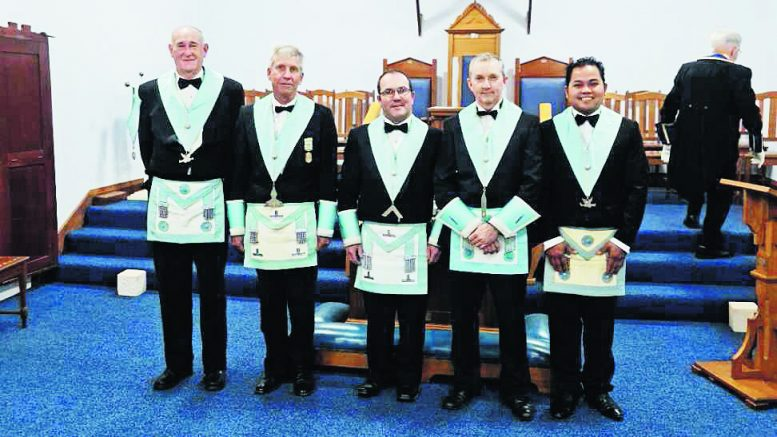 Brother Andrew Earney and his officers. Left to Right Brother Rex Press, Worshipful Brother Donald Anderson, Brother Andrew Earney, Brother James Rodgers and Brother Neil Gile. Image contributed.