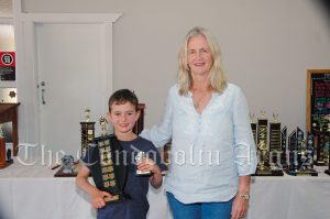 Alec Patton (10 Years and Under Boys Encouragement Award) with Kathy Thorpe. Image Credit: Kathy Parnaby.