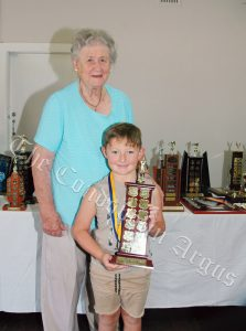 Lucas McMaster (Ray and Alison Peasley Trophy for 25 Metre Pointscore) with Alison Peasley. Image Credit: Kathy Parnaby.