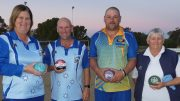 Fiona Hartwig, Tony Parkes (winners) West Wyalong S and C. Dave Carter, Pauleen Dimos (runners-up) Condo Sports. Image Contributed.