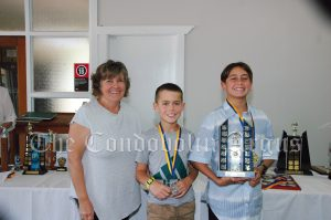 Donna Goodsell with Kobie Whiley (third 800m) and Preston Jackson (first place 800m) Image Credit: Kathy Parnaby.