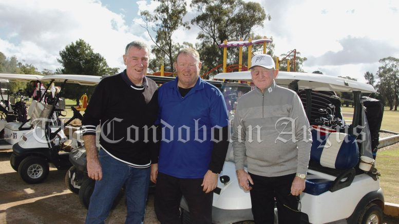 Greg Moncrieff, Docky Rodgers and Jim Clyburn played in the Memorial Golf Day at Condobolin recently. Image Credit: Kathy Parnaby.