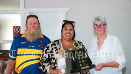 Mark Thorpe (left) and Betty Jones (right) with Nikita Atkinson, who was named Club Person of the Year. Image Credit: Kathy Parnaby.