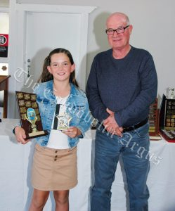 Rubie Haworth (Most Improved 12 Years and Under 50m swimmer) with Tony Jones. Image Credit: Kathy Parnaby.