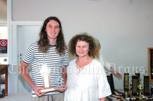 Ryan Goodsell 1500 Metre Boys (Apex Club Trophy) with Jo Tomlinson. Image Credit: Kathy Parnaby.