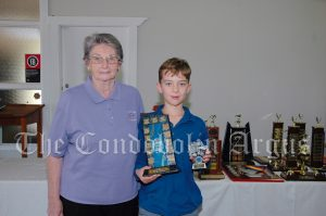 Sue Bell with Charlie Patton (10 Years and Under Encouragement Award). Image Credit: Kathy Parnaby.
