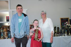 Tim McDonald (left) and Betty Jones (right) with Charli Keates, who was the Eight Years Champion Girl (Bruce and Beryl L'Estrange Trophy). Image Credit: Kathy Parnaby.