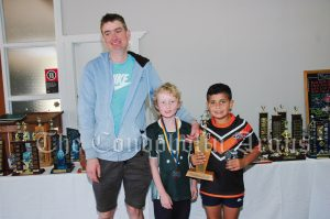 Tim McDonald with Harvey McFadyen (7 Years and Under Champion and Quade Peterson (7 Years and Under Champion Runner Up)