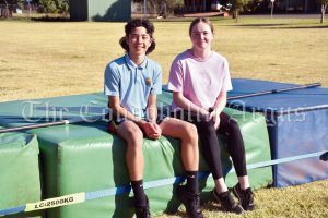 Triston Ross and Mia Noll both broke long standing high jump records at the Condobolin High School Athletics Carnival on 19 May. Triston jumped 1.53 metres, breaking the record previously held by Craig Hucker way back in 1984. Mia cleared 1.49 metres, with Terri Kildea holding the record since 1984 until it was broken. Image Credit: Melissa Blewitt.
