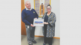 Lachlan Shire Council's certificate was presented to General Manager Greg Tory (left) by Parkes, Forbes and Lachlan Shire Councils' Road Safety Officer Melanie Suitor last week. Image Contributed.