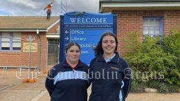 Amali Haworth and Emma Buckland at Condobolin Public School Image Credit: Lucy Kirk.