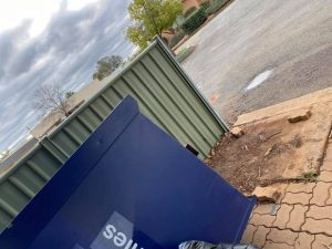 Unknown person/s have vandalised the St Vincent de Paul Bin located in Moller Street, Condobolin two times in the last two weeks. The latest act of vandalism was captured by local resident Josh Karsten on 27 June. The bin was knocked over and the contents strewn over a large area. Image Credits: Josh Karsten.
