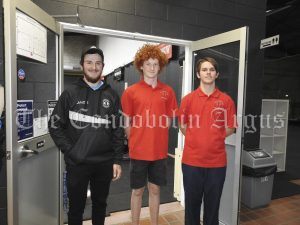 Brayden Davis (Willowbend Sports Centre 2877) with Josh Thompson and Xavier Grimshaw. Image Credit: Lucy Kirk.