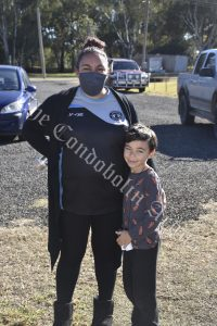 Teigan McRae and her son Seth Patton were excited to find prizes that were part of a School Holiday Program Treasure Hunt. Image Credit: Melissa Blewitt.