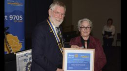 Outgoing Rotary District Governor, Michael Moore, presented a special award to Condobolin Rotary Club President Susan Bennett for the Club's outstanding service and community engagement. Image Contributed.
