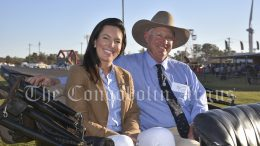 Show President Jeff Kirk said the decision to cancel the 2021 Condobolin Show was not taken lightly and he thanked the community for their ongoing support during these uncertain times. ABOVE: Condobolin Show PA Announcer Lyndsey Douglas and Show President Jeff Kirk in 2019, the last time the Show was held before COVID-19 pandemic began. Image Credit: Melissa Blewitt.