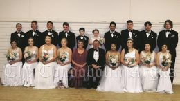 The official group included (back row) Jay Haworth, Riley Keen, Luke Marsh, Callum Wald, Charlie Worthington (Page Boy), Gabrielle Curry (Flower Girl), Kaiden Atkinson, Jeremiah Hudson, Corey Herbert and Harry May; together with (front) Tahlia Haworth, Caitlin Keen, Brittany Jones, Molly Stubberfield, Jan Lewis (Matron of Honour), Father Brian Schmalkuche (Priest in Charge of All Saints Anglican Church), Chontelle Dargin, Shaylee Saunders, Marissa Hoskins and Cailin Glasson. For more on the 2021 Debutante Ball see pages 8 and 9. Image Credit: Lucy Kirk.
