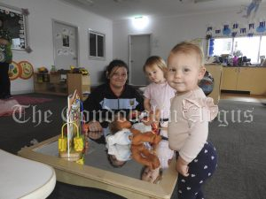 • Jessica Kiss, Edie Fyfe and Lexi Saunders at Condobolin Preschool and Childcare Centre. Image Credit: Lucy Kirk.