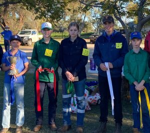 TJJ Junior Meat Sheep Placegetters: Ethan Foster (Trangie), Lucas John (Condobolin), Montana Piercy (Condobolin), Jed Turner (Tullibigeal) and Cooper Dunn (Trundle). Image Credit: Trangie Junior Judging Day.