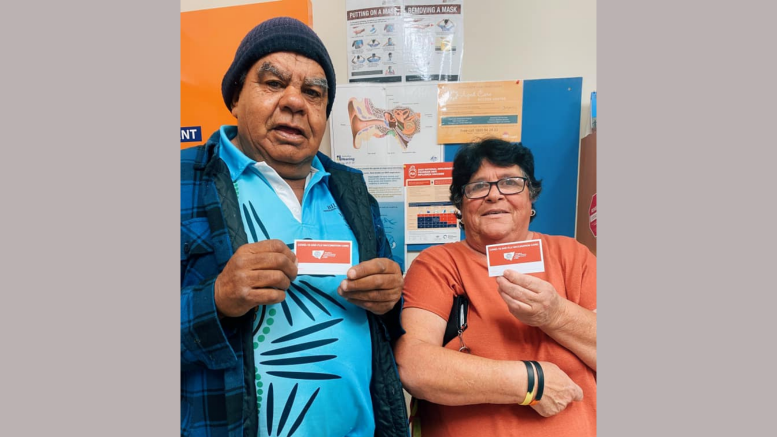 Robert and Mary had their second COVID-19 vaccination on 15 June. They were the first people in Condobolin to be fully vaccinated. Image Credit: Condobolin Aboriginal Health Service Facebook Page.