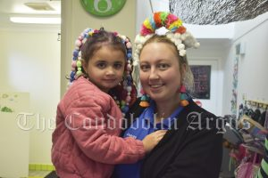 Dakota May and her daughter London Sloane got into the spirit of Crazy Hair Day at Lachlan Children Services. Image Credit: Melissa Blewitt.
