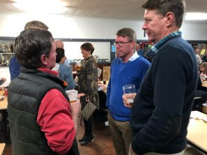 Nick Farr-Jones (bright blue jumper) met with locals at a community event hosted by Central West Farming Systems (CWFS) and funded through NSW DPI Rural Resilience Program. Image Contributed.