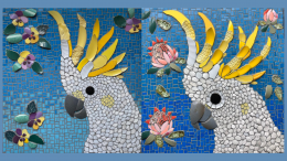 Local resident Kelly Mackey (Mac_mosaics) made 'Cocky' as a commission piece that went to a Melbourne client. Both the sulphur crested cockatoo and purple and yellow pansies have a special connection to the client and her family. Image Credit: Mac_mosaics Facebook Page.