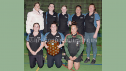 Victorious Titans: Amy Smith, Liz Cusack, Dimiti Taylor, Nicky Read and Sarah Pawsey (back row); together with (front row) Hayley Ireland, Eryn Wheeler and Belinda Coe. Image Credit: Kathy Parnaby.
