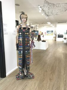 Condobolin's Terryll Cassidy's 'Nespresso Aluminium Pod Dress' won the regional Community Functional category at the 2021 Sims Waste 2 Art regional competition. Image Credit: Terryll Cassidy.