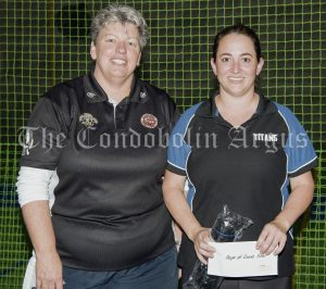 Melissa Barby (Umpire) with Player of the Grand Final Hayley Ireland. Image Credit: Kathy Parnaby.