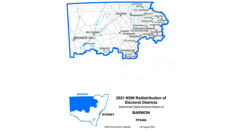 The boundaries of the Barwon Electorate will remain unchanged. The Electoral Districts Redistribution Panel has made its final determination of the names and boundaries of electoral districts. The determination was proclaimed in the Gazette on 26 August 2021 by Her Excellency the Governor, the Honourable Margaret Beazley AC QC. Image Credit: NSW Government Gazette (26 August 2021).