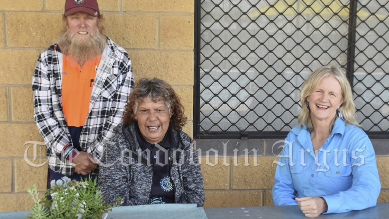 Condobolin Pool Managers Mark (left) and Kathy Thorpe (right) held a morning tea for Pearl Toomey at the Pool to thank her for all of her hard work and dedication on Wednesday, 22 September. She is saying farewell to the Pool after nine years. Image Credit: Melissa Blewitt.